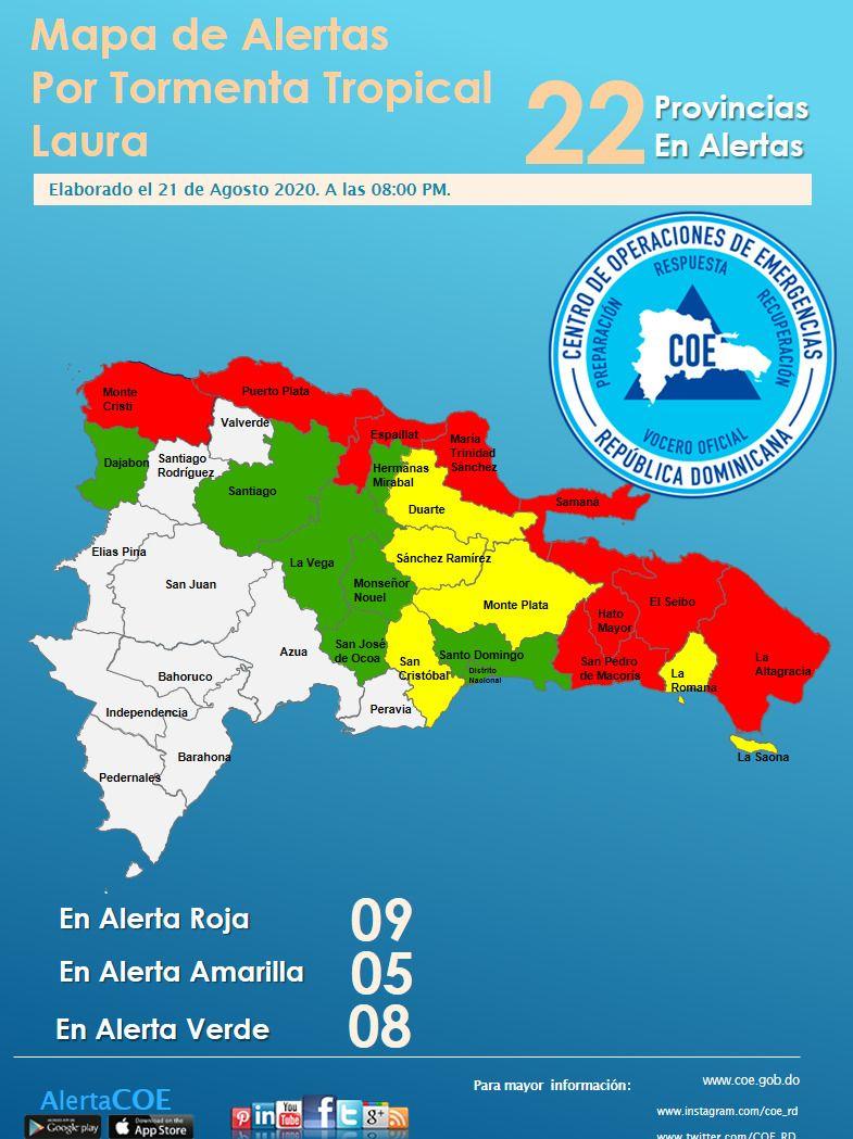 Alertas roja, amarilla y verde para 22 provincias por Laura