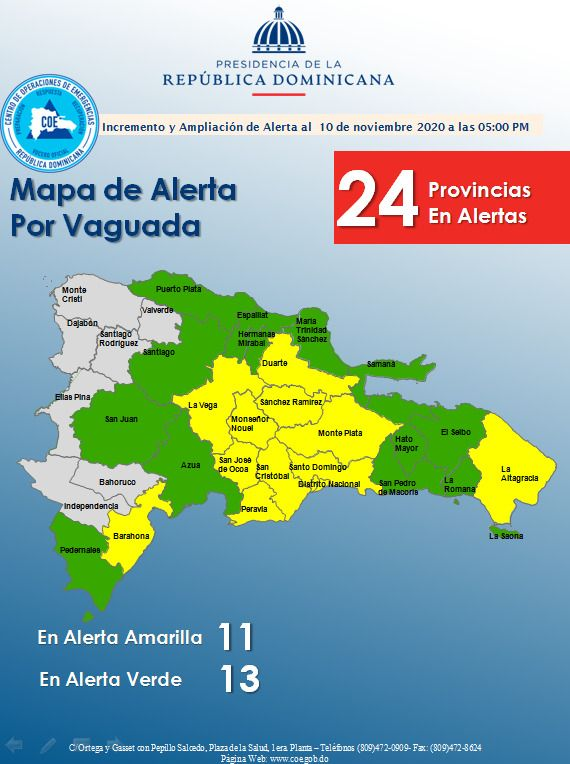 COE eleva a 24 las provincias en alerta por incidencia de Onda Tropical. FUENTE EXTERNA.