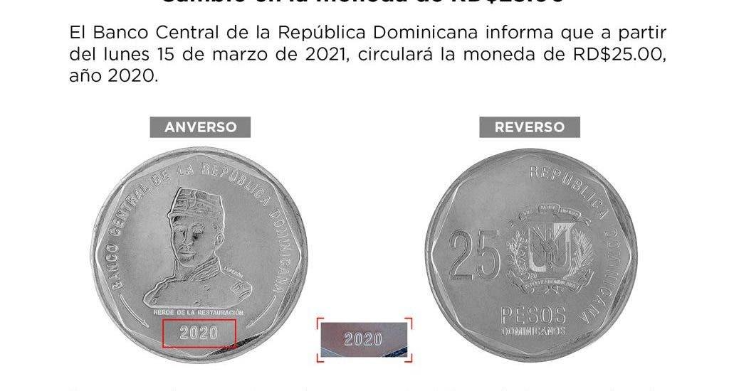 Anuncian circulación moneda de RD$ 25.00 con variación en año de acuñación